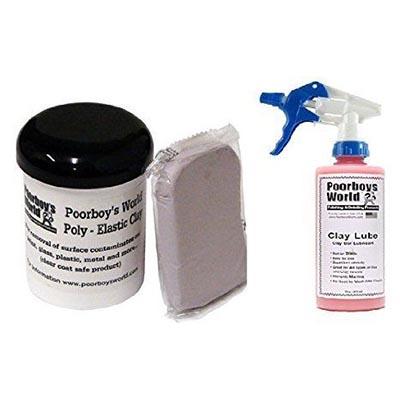 Poorboy's World Clay Bar Kit Clay Lube Lubricant Spray 473ml & 200g Clay Bar
